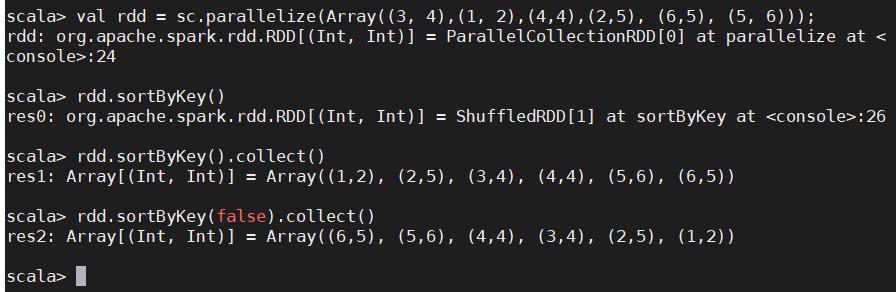 spark RDD算子(六)之键值对聚合操作reduceByKey,foldByKey,排序操作sortByKey